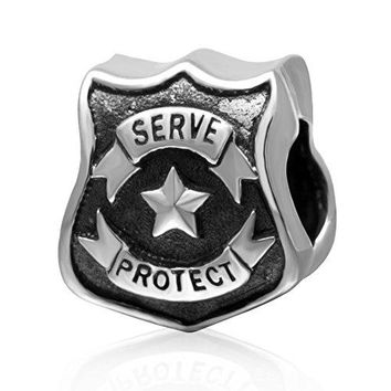 Ollia Jewelry Antique 925 Sterling Silver Charm To Serve and Protect Charm United States National Guard Police Badge Charms