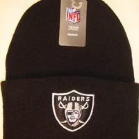 Oakland Raiders Black Beanie Hat - NFL Cuffed Cap