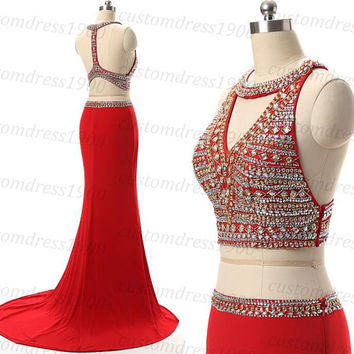 Red long mermaid prom dress,two pieces style formal evening dress,2016 new handmade beading chiffon wedding party dress