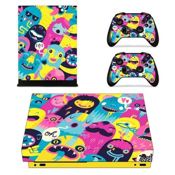 X0402 Game accessories Skin Sticker for Microsoft Xbox One X Console and 2 Controllers skins Stickers for XBOXONE X Enhanced