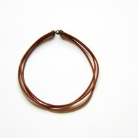 Leather choker necklace, Simple choker necklace, Biker jewelry, Brown leather necklace