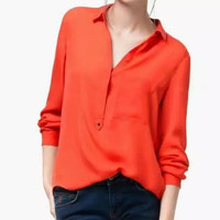 Long-Sleeve Mandarin Collar Button-Up Chiffon Shirt With Pocket