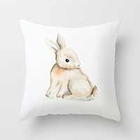 Easter bunny watercolor Throw Pillow by Craftberrybush
