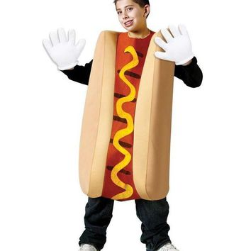 LMFON Hot Dog Cosplay Costumes Kids Adult Sandwich Clothing Halloween Party Dress Outfit Funny School Drama Performance Food Dress