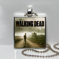 The Walking Dead Square Tile Pendant Necklace or Keychain