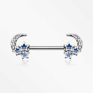 A Pair of Triple Blue Stars on Crescent Moon Sparkle Nipple Barbell