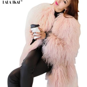 Warm Light Pink Faux Fur Outwear Winter Autumn Oversize Faux Mongolia Sheep Fur Jacket Female Long Furry Coats Ladies SWQ0304-45