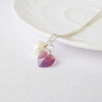 25% OFF Heart necklace, Swarovski crystal & freshwater pearl pendant, pink white tiny necklace, minimalist jewelry, love necklace