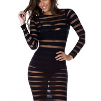 Mesh Striped Long Sleeve Bodycon Midi Dress