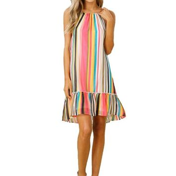 Tropical Stripe Halter Neck Dress