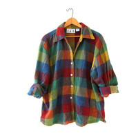 Vintage fleece shirt. checkered shirt. snap up blanket shirt. colorful fleece jacket.