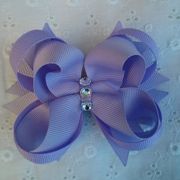 NEW!!! Lavender Stacked Boutique Hair Bow with Silver Acrylic Jewels