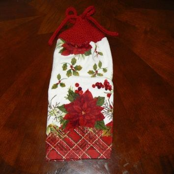 Pretty Poinsettia Hanging Dish Towel With Hand Knit Topper and Ties