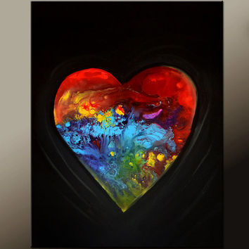 Abstract Art  Painting 18x24 Canvas Contemporary Art by Destiny Womack - dWo - The Heart of a Dreamer