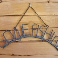 "Old Maine Camp Sign ""Gone Fishin"" Metal Hanging Outdoor Gone Fishing 3"" Letters"
