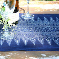 8 Foot Table Runner In Natural Hmong Indigo Batik Cotton 96 inches