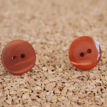 Button Studs - Brown resin covered post earrings cute simple handmade FREE shipping to USA