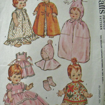 Doll Clothes Pattern 12, 14, 15 inch dolls McCall's 6993 Printed 1963
