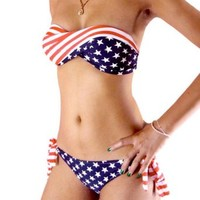 HDE Women's Two Piece Padded Twist Bandeau US American Flag Bikini USA Swimwear