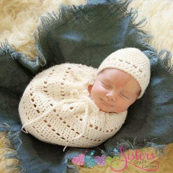 Newborn Crochet Swaddle Sack & Hat Set, Snuggle Sack, Newborn Photo Prop, Crochet Cocoon, Newborn Photography Prop, Neutral, Baby Boy Girl