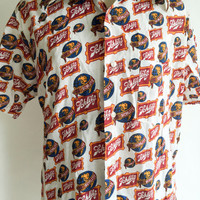 Vintage Mens Schlitz Beer Shirt 1970s Schlitz Beer Logo All Over Print Button Down Short Sleeve Shirt Size Large 16-161/2
