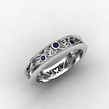 blue sapphire ring, silver, filigree ring, wedding band, lace ring, filigree wedding band, unique, Thin wedding ring, Blue wedding band
