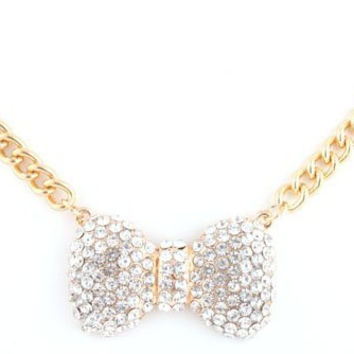 Goldtone with Clear Iced Out Medium Bow Style Pendant with a 20 Inch Adjustable Chain Necklace