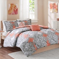 Cozy Soft® Mia Comforter Set in Coral/Grey/White