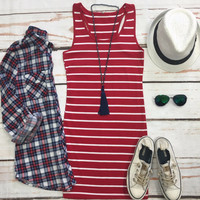 Striped Tank Dress: Red