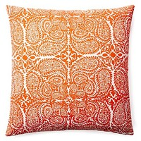 One Kings Lane - Downstairs - Maya 20x20 Cotton Pillow, Saffron