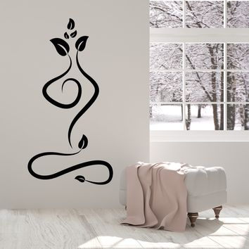Vinyl Wall Decal Nature Yoga Meditation Pose Beauty Health Stickers (2486ig)