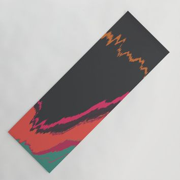 Glitched Retro Yoga Mat by duckyb