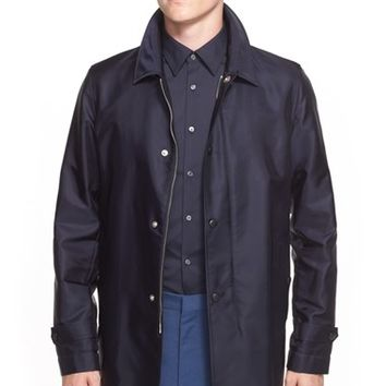 Men's Burberry London 'Narborough' Leather Collar Coat,