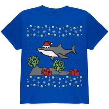LMFCY8 Ugly Christmas Sweater Shark Santa Hat Youth T Shirt