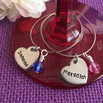 Personalized Wine Glass Charm - Set of Wine Glass Charms - Custom - Stainless steel ring - Wedding Gift - Party Favor - Wine charms