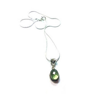 Faceted Green Quartz  Pendant , Sterling Silver Pendant , Oval Pendant , Sterling Silver Chain
