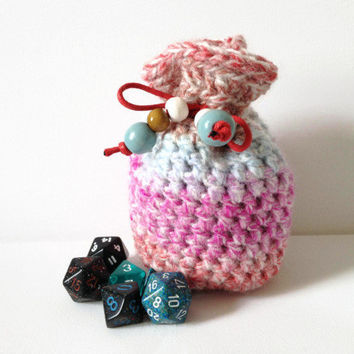Dice Bag, Small Stripe Bag, Crochet Pouch, Stripe Dice Bag, Pink and Blue Coin Purse, Small Counter Bag, DnD Bag of Holding