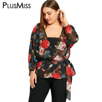 PlusMiss Plus Size 5XL Sexy Floral Print Sheer Wrap Blouse Shirt Women Clothing Kimono Loose Boho Beach Chiffon Tops See Thourgh