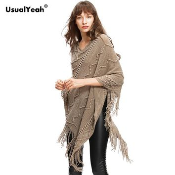 Winter Women Sweater Female Batwing Stripes Fringed Pullovers Women Tops Poncho Shawl Cape Pull Femme Sweter Jumper
