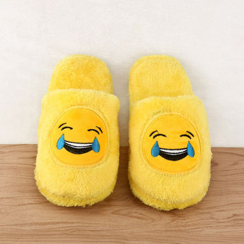 Women's Winter Plush Slippers Indoor Shoes House Funny Emoji