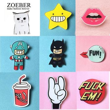 ZOEBER Anime Brooches Pins Figure Simpson Bells Hello kitty cartoon jewelry cute face snow White cat dogs Broche bag enamel pins