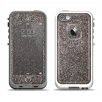The Black Glitter Ultra Metallic Apple iPhone 5-5s LifeProof Fre Case Skin Set
