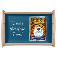 I purr therefore I am White Cat with Quote Serving Tray