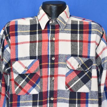 80s Five Brother White And Red Flannel Shirt Large
