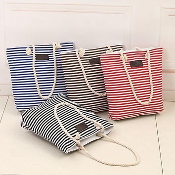 Cotton Canvas Summer Beach Shoulder Bags Women Tote Bags Large WomanHandbags Casual Striped-15