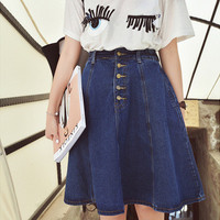New arrival denim skirts womens a-line jeans front button skirt jupe women knee-length jean skirt