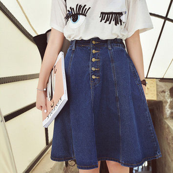 Knee-Length Front Button Skirt