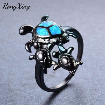 RongXing Unique Turtle Blue Fire Opal Animal Rings For Women Cocktail Party Band Vintage Black Gold Filled Wedding Ring RB0797