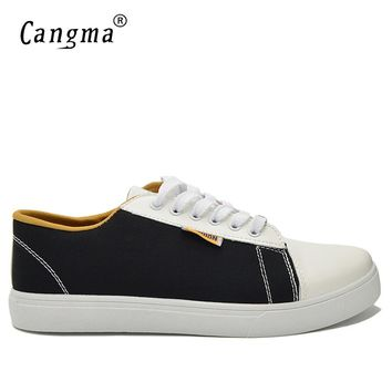 CANGMA Brand Canvas Sneakers Men Casual Shoes Breathable Multi-Colored Bass Male Black And Red Shoes Man's Lace Up Footwear