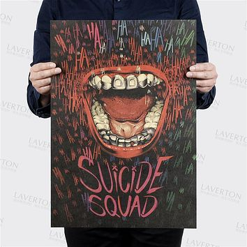 Vintage Batman Harley Quinn Suicide Squad Movie Poster Retro Kraft Paper Bar Home Decor Painting Wall Sticker Wallpaper 51*35.5